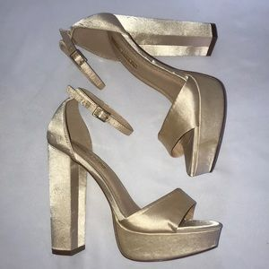 Liliana Gold Satin Chunky Heels With Ankle Strap